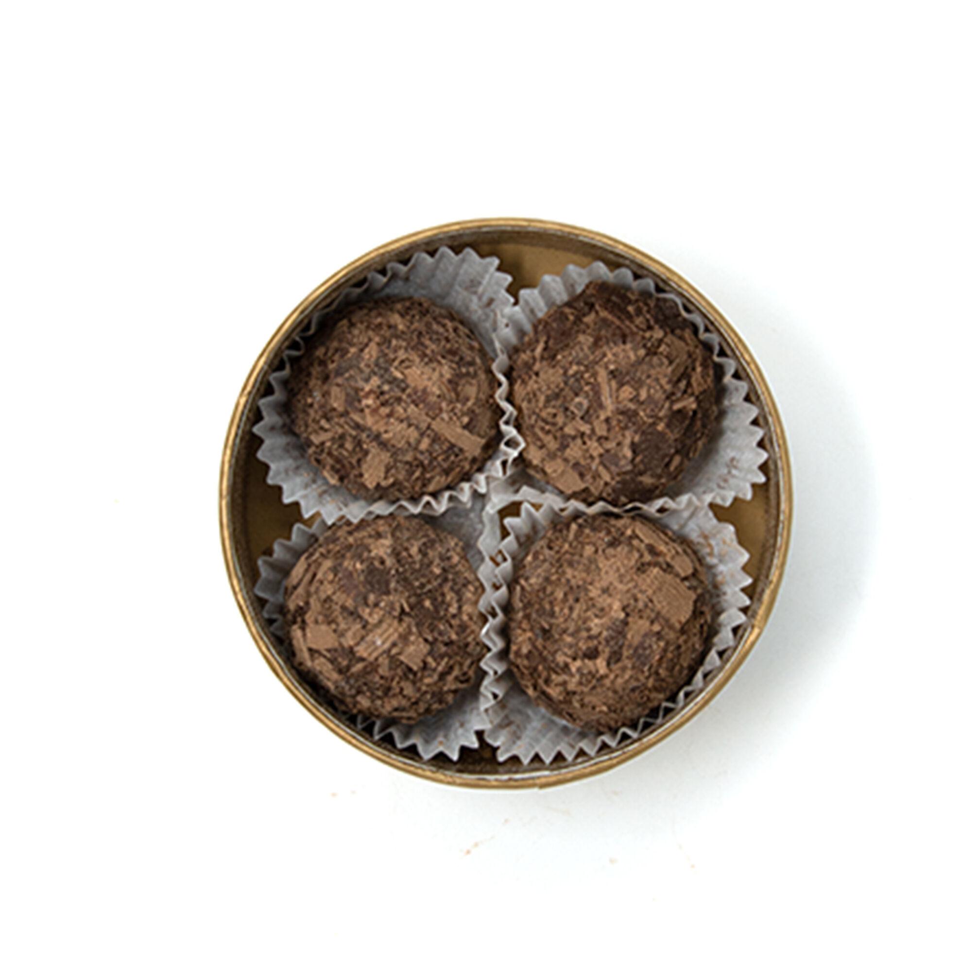 Dark Chocolate Truffles in Round Box 4 pcs image number 21